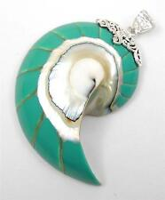 Turquoise Natural Nautilus Shell 925 Sterling Silver Pendant Jewelry SE060-R
