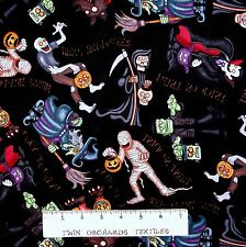 Halloween Fabric - Haunting We Will Monster Toss Black - RJR Cotton YARD