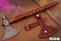 HAND FORGED DAMASCUS STEEL Axe TOMAHAWK, HATCHET,INTEGRAL. Pipe Rose Wood Handle