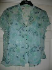 Special Occasion Ladies Top S 18 Aqua Blue Marks & Spencer 2 layers button front