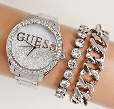 Guess  Uhr Damenuhr  W0987L1 Glitter Girl Edelstahl  IP Silber neu