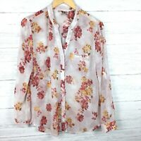 Kut From The Kloth Women's Pink and Red Floral Print Shirt Button Front Sheer M