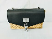 New DKNY Elissa Large Leather Chain Strap Shoulder Bag Crossbody Woven Straw