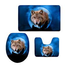 Non Slip Toilet Mat 3pcs Set Carpets Blue Wolf Bathroom Flannal Rug Washable