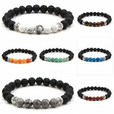 "7"" Fashion Men Women Handmade Healing Crystal 8mm Beads Chakra Charm Bracelets"