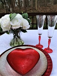"""Bohemia Crystal """"Love Angela"""" Champagne Flutes, (2) Perfect For Wedding Toast"""