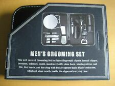Men's Grooming Set W/ Leather Zippered Carrying Case