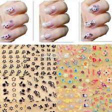 100 Stickers nail art 2D 3D adesivi decorazioni unghie stikers