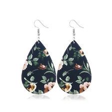 Fashion Rose Floral Print Leather Teardrop Earrings for Women Waterdrop Jewelry