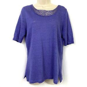 Talbots Linen Sweater M Short Sleeve Scoop Neck Crochet Lace Trim Purple Medium