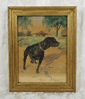 Vintage 1940's Gouache Painting Dog Black Lab Signed Listed Goodridge Roberts