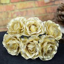 6 KUNSTROSEN MIT STIEL GOLD 10 CM Deko Floristik Rose Blüte Sparkling Rosenköpfe