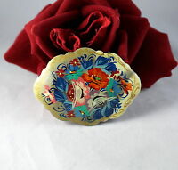 Vintage Signed Hand Painted Wood Flowers  Pin Brooch CAT RESCUE