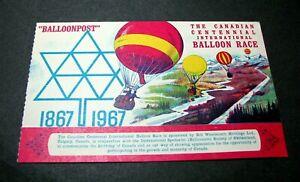 Old Cover Balloonpost -Canadian Centennial 1967 L455