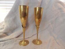 """Set of 2 Vintage Brass Champagne Flutes / Glasses 9.5"""""""