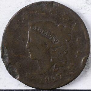 1827 Coronet Large Cent Good rim damage