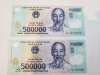 1,000,000 VIETNAM DONG (2x 500,000) BANK NOTE MILLION VIETNAMESE CIRCULATED