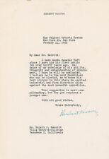 Herbert Hoover Typed Letter Signed - Endorses Taft Over Eisenhower for President