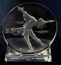 Vintage French Lalique Crystal Glass Society of America 1992 paperweight display
