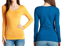 BASIC LONG SLEEVE V-NECK TOP T-Shirt Cotton Stretch Tight Thin plus S ~ 3XL