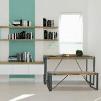 Cosima Wooden Dining Table Bench Bookshelf Acacia Wood Rustic Black Metal Frame