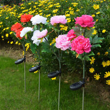 LED Solar Power Peony Flower Stake Lights Outdoor Garden Path Landscape Lamps