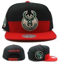 Milwaukee Bucks New Mitchell & Ness Horizontal 2 Black Red Era Snapback Hat Cap