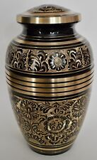Adult Brass Cremation Urn for Ashes - Gorgeous Black & Gold Engraved Design