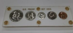 1955 United States Mint 5 Coin Proof Set in White Acrylic Holder 90% Silver (E)