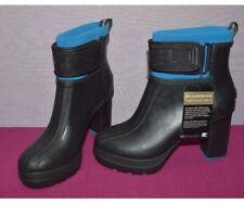 SOREL Women Medina III Ankle Rain Platform Heel Booties Black / Blue Rubber 11