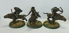 3 x Orc Warg Riders spear & 2 bow Pro painted metal models LOTR The Hobbit OOP