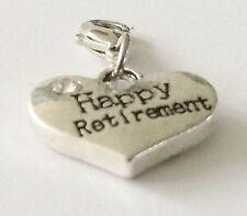 HAPPY RETIREMENT SILVER HEART & RHINESTONE  CLIP ON CHARM - 3D - SILVER ALLOY