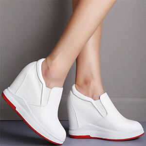 Casual Shoes Women Genuine Leather Wedges High Heel Ankle Boots Fashion Sneakers