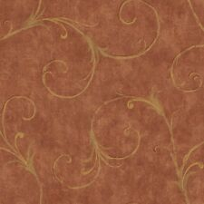 Wallpaper Designer Gold Acanthus Scroll on Red Faux