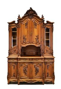 Large Antique French Carved Louis XV Walnut Buffet Cabinet