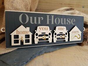 Our House Slate & Wood Key Hook