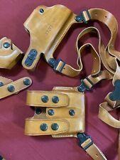 Galco Leather Shoulder Holster 248 Harness & Double Magazine Case Scl24 W/cuff