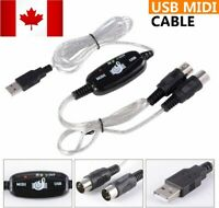 New USB IN-OUT MIDI Interface Cord Converter PC to Music Keyboard Adapter Cable