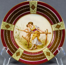 Royal Vienna Style Hand Painted Signed Ullnior Lady & Child Dessert Plate C 1900