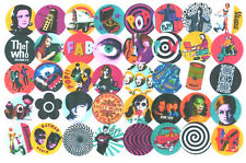 40 MOD  STICKERS #3. POP ART, BIBA, SCOOTER, SMALL FACES, TWIGGY, 60's FASHION.