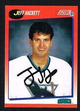 Jeff Hackett #326 signed autograph 1991-92 Score Hockey Canadian Release Card