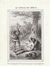 Gravure ancienne  XIXème  mort du chevalier  Bayard