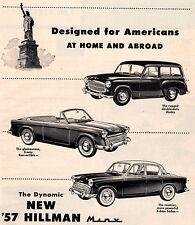 "VINTAGE ORIGINAL 1957 HILLMAN MINX & HUSKY ADVERTISEMENT-  8 "" X 11 """