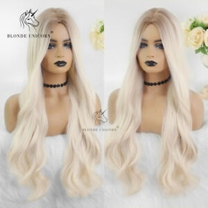 Light Platinum Blonde Long Wavy Wigs for American African Women Party Cosplay