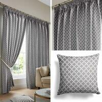Beige Lined Curtains Latte Geometric Jacquard Tape Top Pencil Pleat Curtain Pair