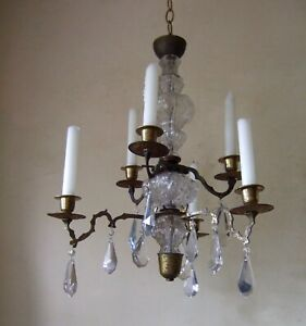 Antique  French gilt bronze and crystal 2 tier 6 branch candle chandelier 18th c