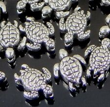 25 tiny Silver Pewter Turtle Tortoise Beads 9x7mm