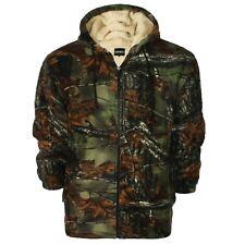 Mens Hooded Fleece Padded Lumberjack Shirt Jacket Fur Lined Sherpa Warm Worker Jungle Print XLarge