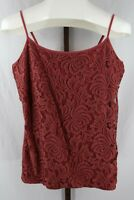 Ann Taylor Womens Ladies Brown Lace Overlay Sleeveless Tank Top Size Large