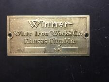 New Winner By Witte Iron Works Etched Brass Tag Antique Gas Engine Hit Miss